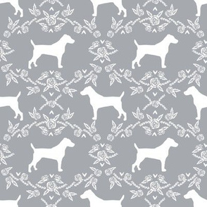 Jack Russell Terrier floral minimal dog silhouette grey