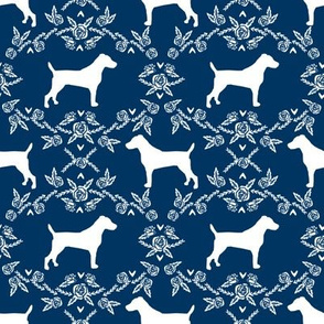 Jack Russell Terrier floral minimal dog silhouette navy