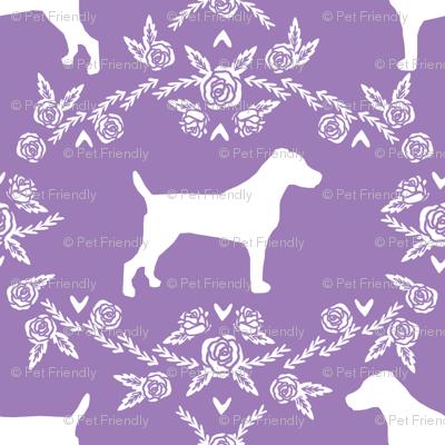 Jack Russell Terrier floral minimal dog silhouette purple