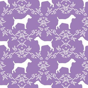 Jack Russell Terrier floral minimal dog silhouette purple