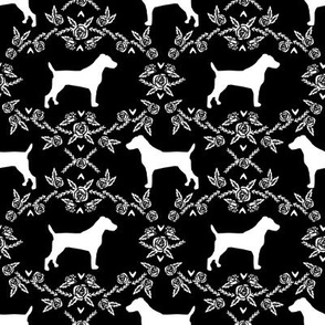 Jack Russell Terrier floral minimal dog silhouette black and white