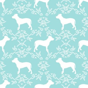 Pitbull floral silhouette dog breed pattern blue tint