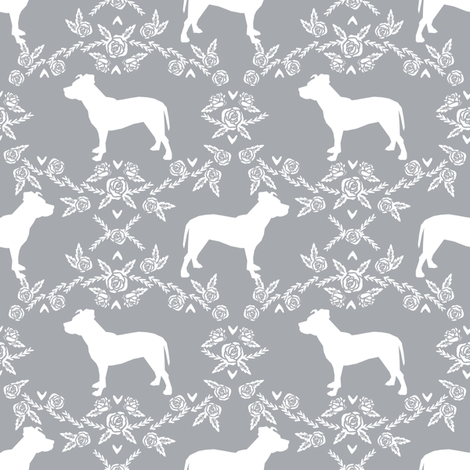 Pitbull floral silhouette dog breed pattern grey fabric by petfriendly on Spoonflower - custom fabric