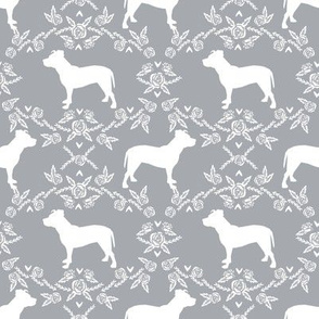Pitbull floral silhouette dog breed pattern grey