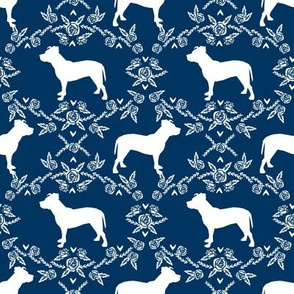 Pitbull floral silhouette dog breed pattern navy