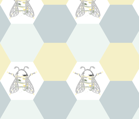 BeePrintFinal fabric by meghaneileen on Spoonflower - custom fabric