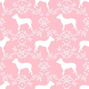 Pitbull floral silhouette dog breed pattern pink