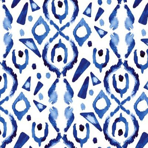Blue Ikat Watercolor Indigo Boho White tribal Triangle Spots home decor_Miss Chiff Designs