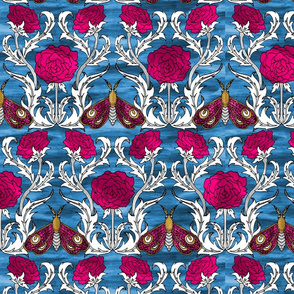Moths and Roses Blue
