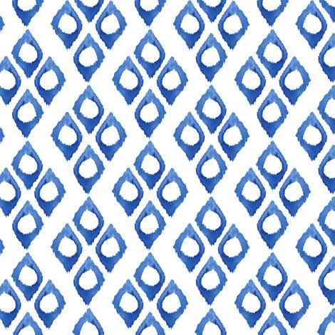 17-10T Blue Indigo Ikat Watercolor  Boho  Ethnic Tribal White Diamond Hand Painted Home Decor_Miss Chiff Designs fabric by misschiffdesigns on Spoonflower - custom fabric