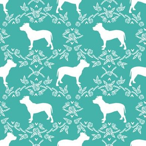 Pitbull floral silhouette dog breed pattern turquoise