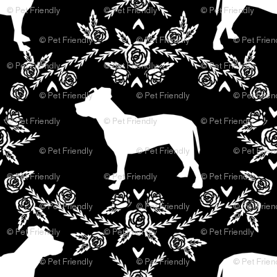 Pitbull floral silhouette dog breed pattern black and white