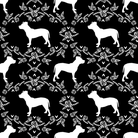 Pitbull floral silhouette dog breed pattern black and white fabric by petfriendly on Spoonflower - custom fabric