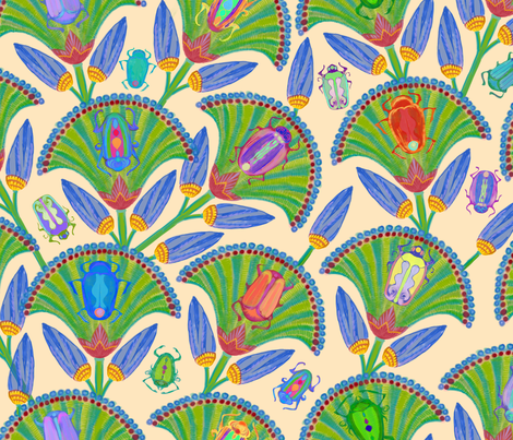 Egyptian Scarabs and Palm Fronds fabric by elramsay on Spoonflower - custom fabric