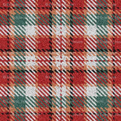Fuzzy Look Red and Green Christmas Plaid