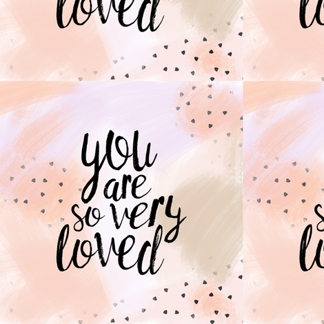 "6"" quilt block - You are so very loved - peach fabric by littlearrowdesign on Spoonflower - custom fabric"