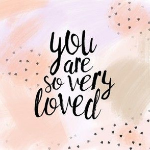 "6"" quilt block - You are so very loved - peach"