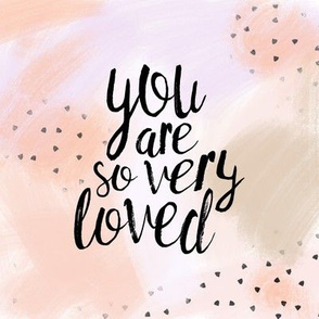 "8"" quilt block - you are so very loved - peach"