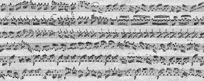 Bach's handwritten sheet music - seamless, greyscale