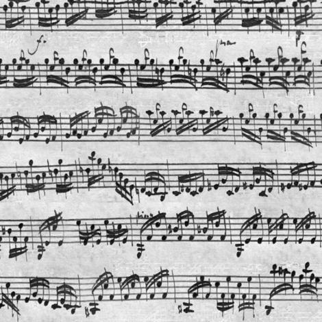 Bach's handwritten sheet music - seamless, greyscale fabric by weavingmajor on Spoonflower - custom fabric