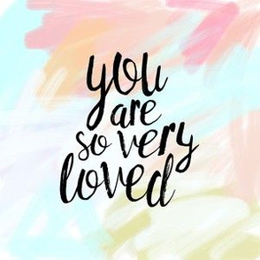 "6"" quilt block - you are so very loved - pastels"