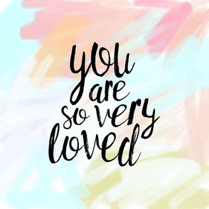 "8"" quilt block - you are so very loved - pastels"