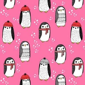 winter penguins // penguin in hats and scarves winter pingu holiday xmas fabric - pink