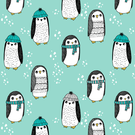 winter penguins // penguin in hats and scarves winter pingu holiday xmas fabric - mint fabric by andrea_lauren on Spoonflower - custom fabric