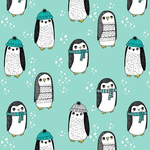 winter penguins // penguin in hats and scarves winter pingu holiday xmas fabric - mint