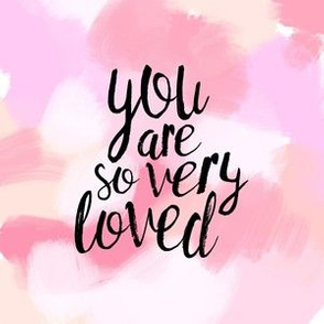 "6"" quilt block - you are so very loved - pinks"