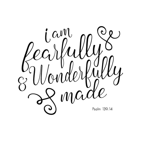 "8"" Quilt block - I am fearfully and wonderfully made  fabric by littlearrowdesign on Spoonflower - custom fabric"