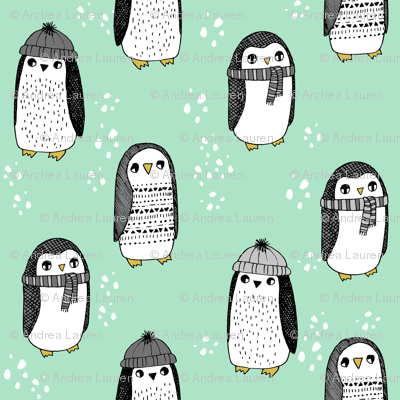 winter penguins // penguin in hats and scarves winter pingu holiday xmas fabric - mint and grey