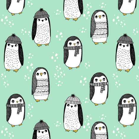 winter penguins // penguin in hats and scarves winter pingu holiday xmas fabric - mint and grey fabric by andrea_lauren on Spoonflower - custom fabric