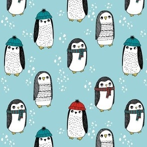 winter penguins // penguin in hats and scarves winter pingu holiday xmas fabric - lite blue