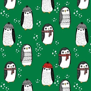 winter penguins // penguin in hats and scarves winter pingu holiday xmas fabric - green