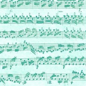 Bach's handwritten sheet music - seamless, surf teal