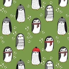 winter penguins // penguin in hats and scarves winter pingu holiday xmas fabric - lime green