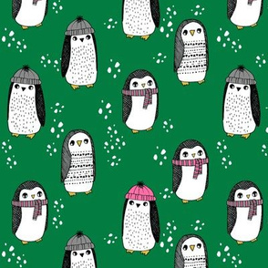 winter penguins // penguin in hats and scarves winter pingu holiday xmas fabric - green and pink