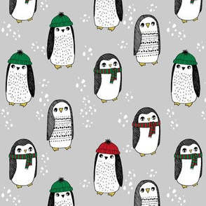 winter penguins // penguin in hats and scarves winter pingu holiday xmas fabric - grey