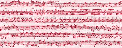 Bach's handwritten sheet music - seamless, candycane red