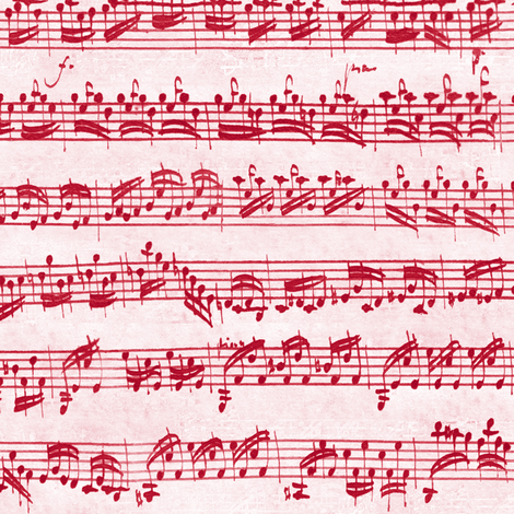Bach's handwritten sheet music - seamless, candycane red fabric by weavingmajor on Spoonflower - custom fabric
