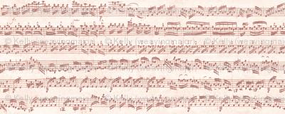 Bach's handwritten sheet music - seamless, terracotta