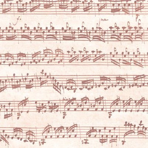 Bach's handwritten sheet music - seamless, terracotta