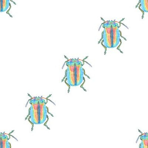 Rainbow Beetle Watercolor Small Diagonal