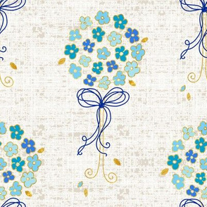 blue topiary - linen textured