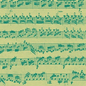 Bach's handwritten sheet music - seamless, green on gold