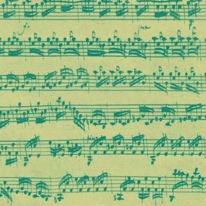 Bach's handwritten sheet music - seamless, green on gold