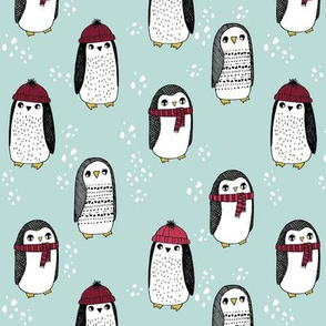 winter penguins // penguin in hats and scarves winter pingu holiday xmas fabric - lite