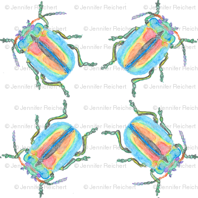 Rainbow Beetle Watercolor Cluster