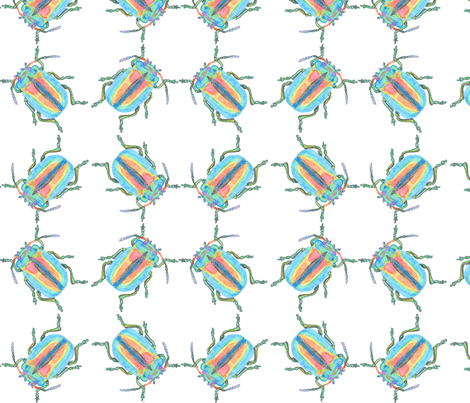 Rainbow Beetle Watercolor Cluster fabric by stoneamazon on Spoonflower - custom fabric